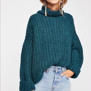 Teal Mock Neck Free People Sweater